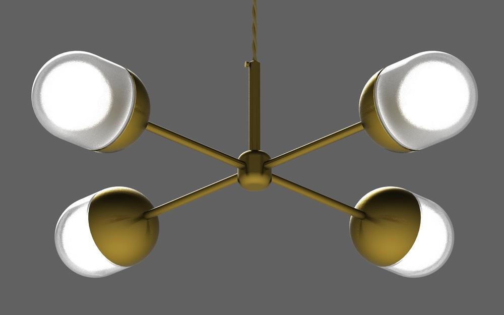 Pill X chandelier in brass