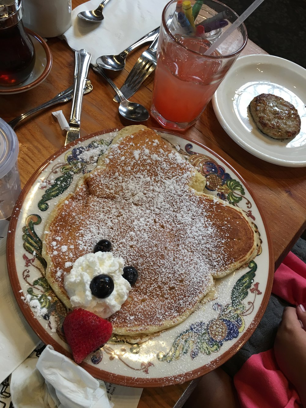 Bear pancakes at The Maple Counter Cafe.