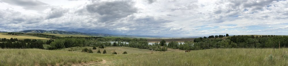 Bennington Lake overlook. Blue Mountains in the background. Beautiful clouds rolling overhead.