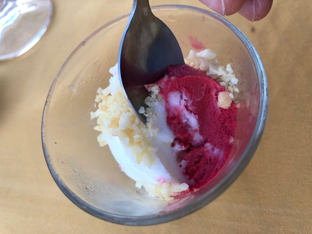 Pallet cleanser: Sparkling lime and raspberry sorbet