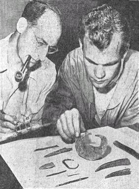 Dr. Robert Ritzenthaler (left) & Arthur Niehoff. From the Milwaukee Sentinel, 1954