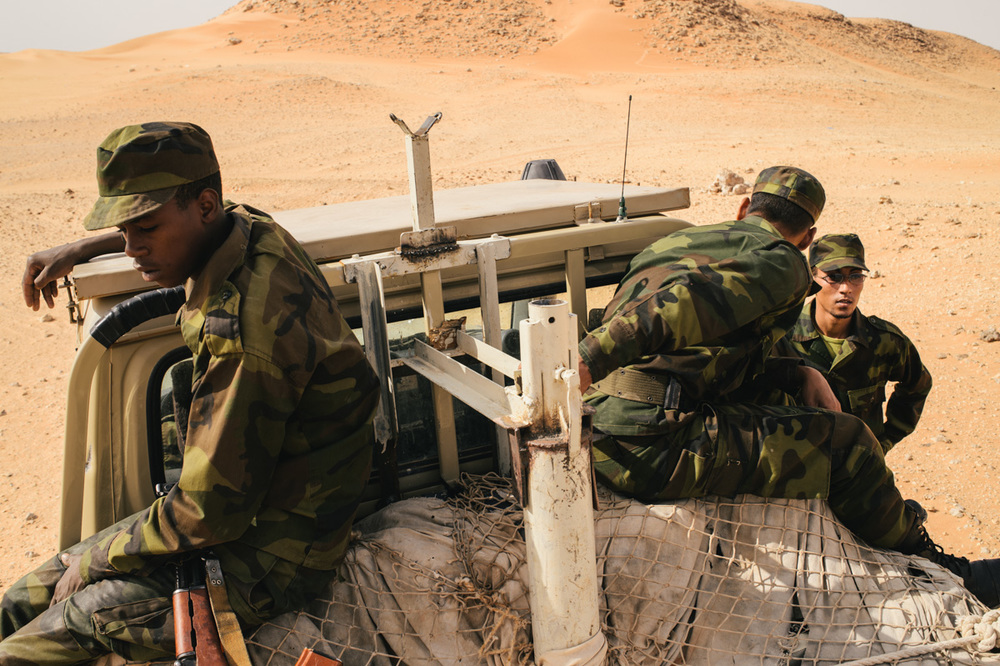 Views from a Sahrawi counterterrorism patrol responsible for monitoring the miles of open desert between the isolated refugees and porous Algerian border.