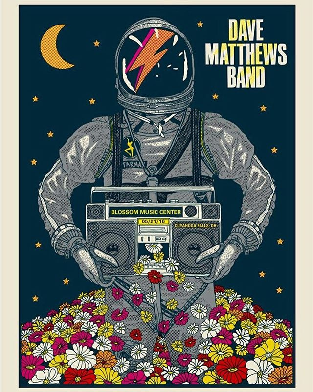 Tonight's poster 05/21/16 by Methane Studios. And a little David Bowie tribute going on there. #dmb25 #blossom #starman  #bowieforever