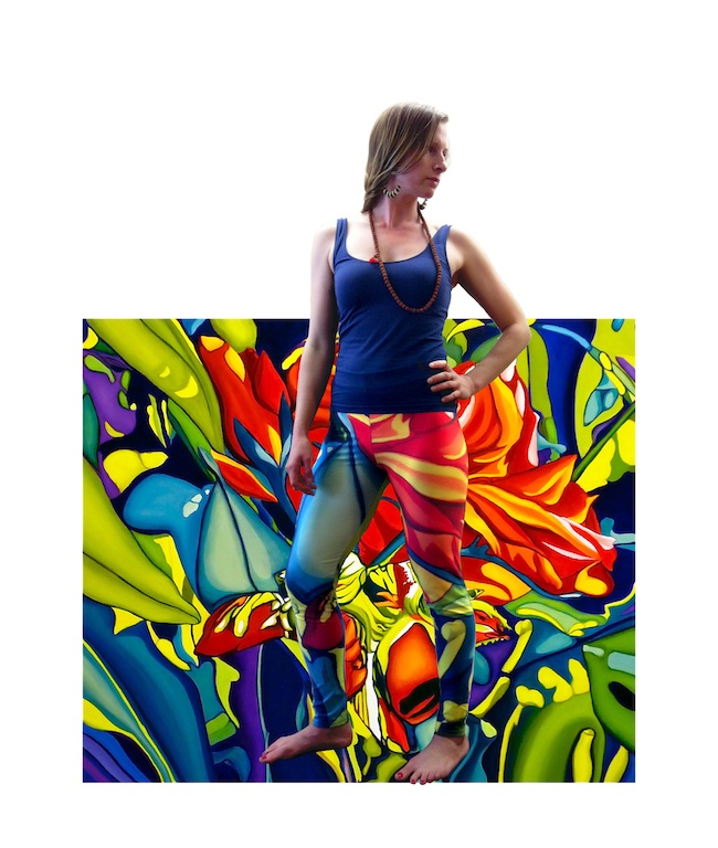 Nathalie Saunderson, teacher at Santosha Yoga Shala, wears the Emerging Red leggings.