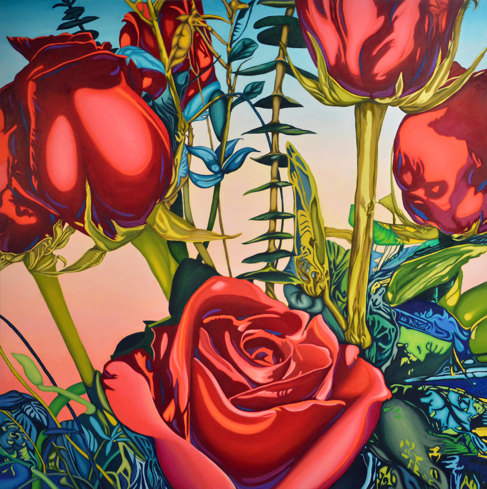 "Roses, 48"" x 48"", oil on canvas"