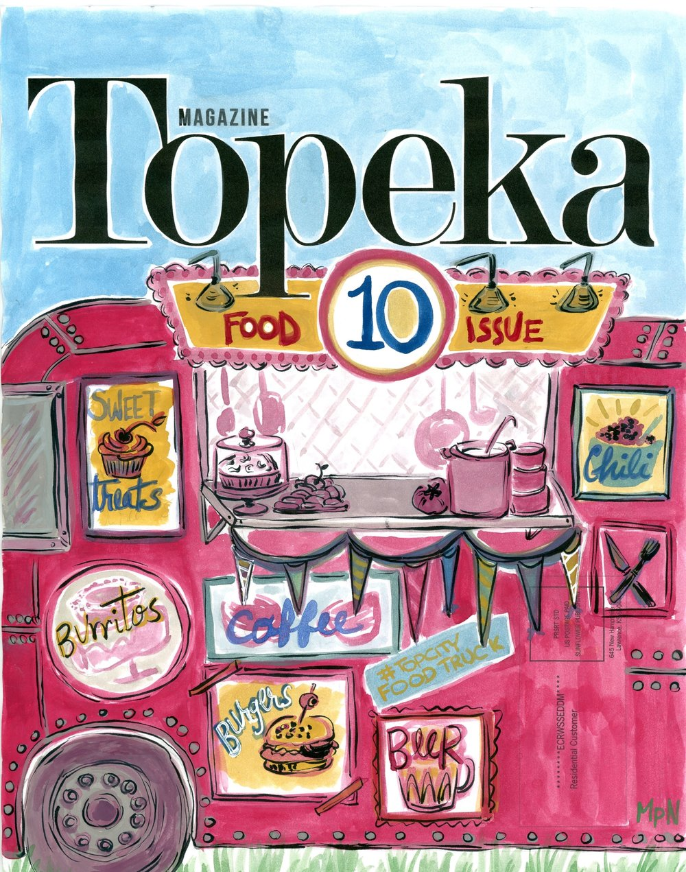 Cover and illustrations for Topeka Magazine, 10th anniversary food issue