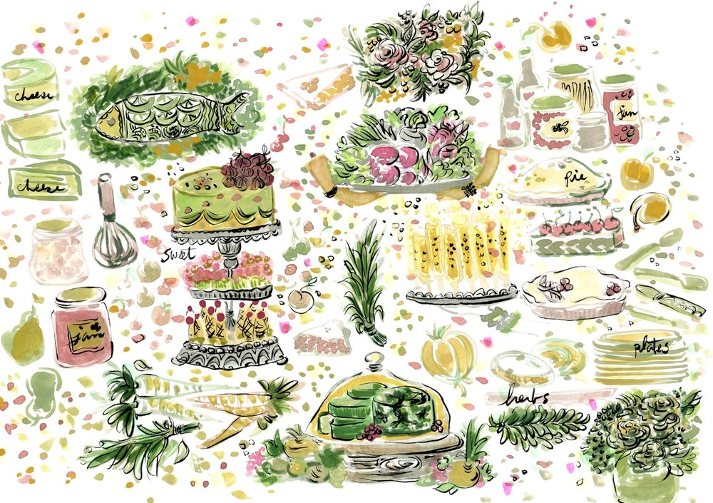 Website illustrations for cookbook author   Cathy Barrow