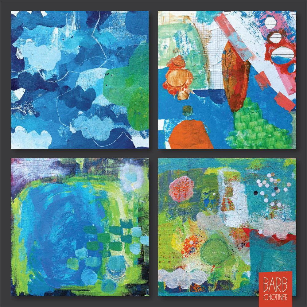 "untitled acrylic paintings, 10"" x 10"" 4 of my in progress paintings for the class - Daring Adventures in Paint - taught by Mati Rose McDonough"