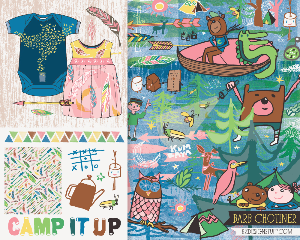 """camp it up"" artwork for children's apparel 