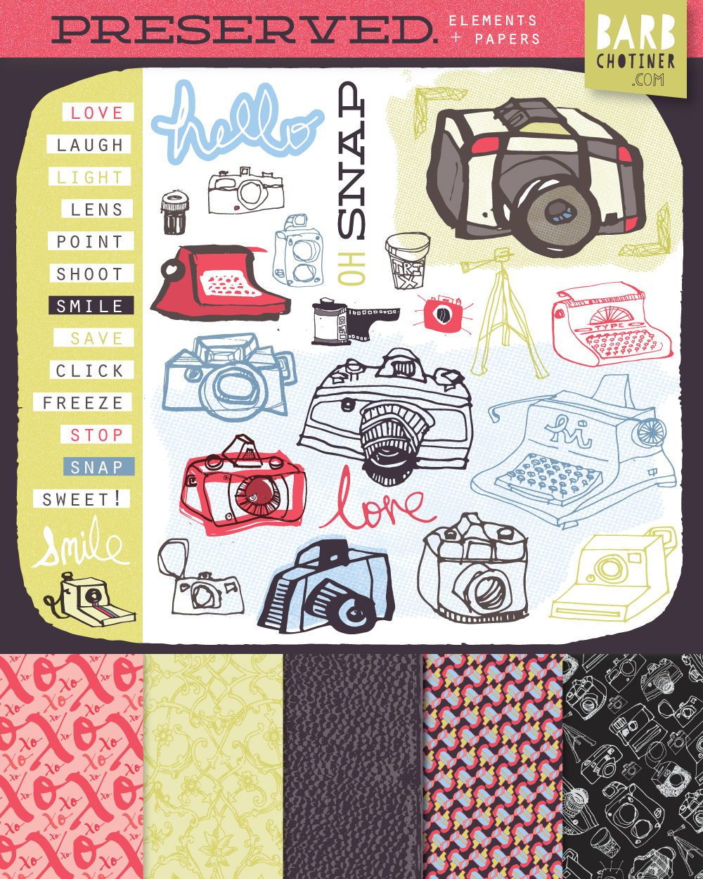 barbara chotiner | art for scrapbook collection - featuring retro camera / typewriter art