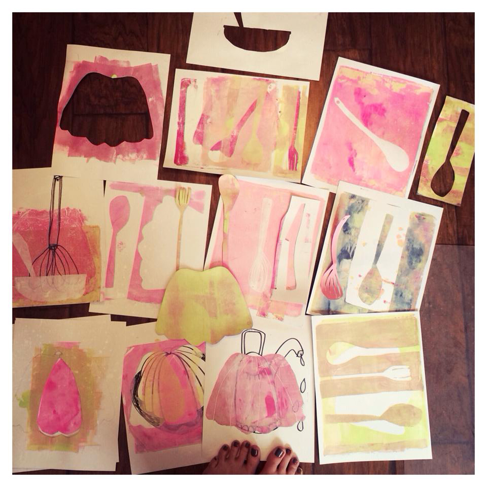 mono prints created for Making Art that Sells Bootcamp - March 2014 - Jello - by Barb Chotiner