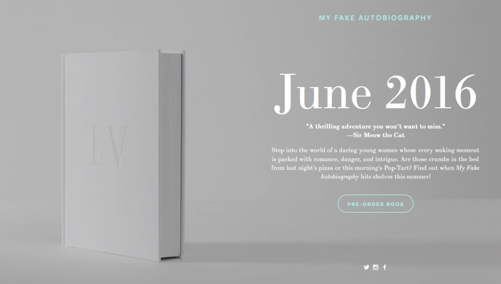 Sample launch page for a book called  My Fake Autobiography.