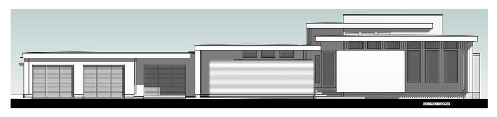 West Elevation-Note exterior mounted sunscreen on southwest corner