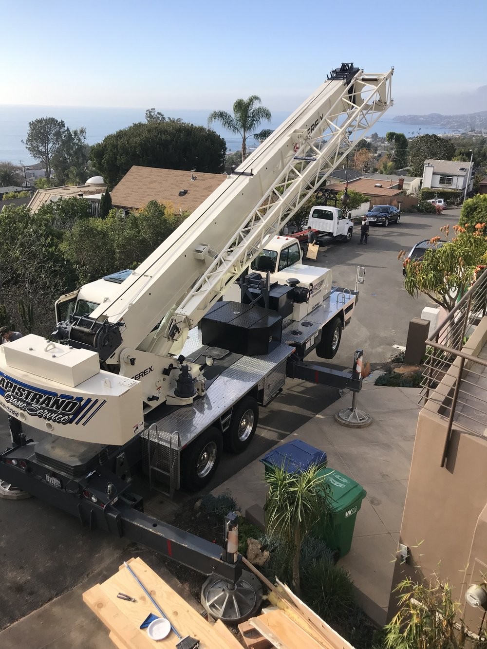 Moving steel requires a large crane.