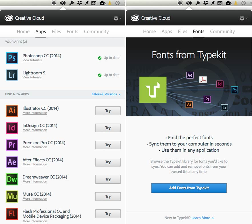 The CC control panel. Left: Installed and available apps. Right: Typekit integration.