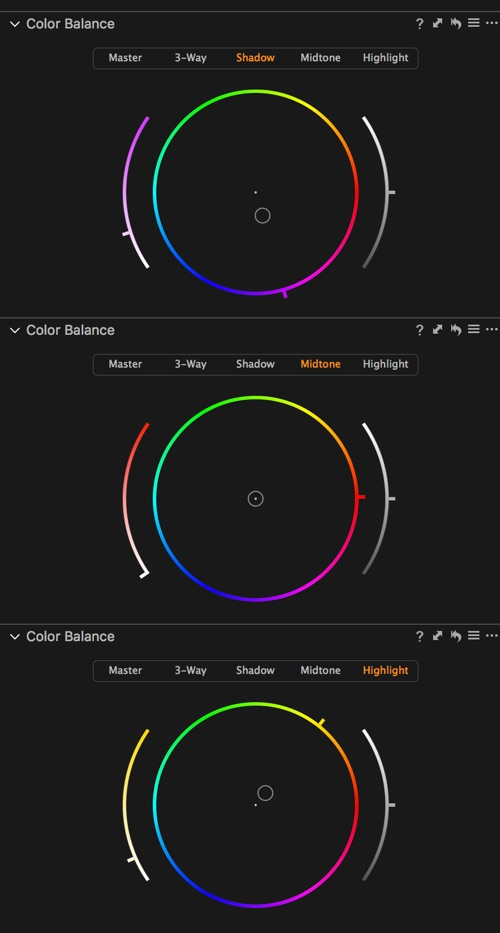 The colour balance settings.