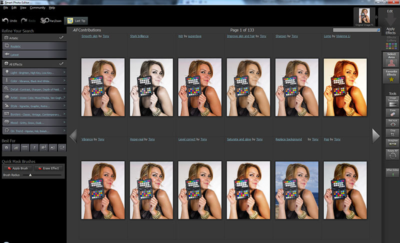 Selecting the image gallery gave me 1596 effects for my portrait.