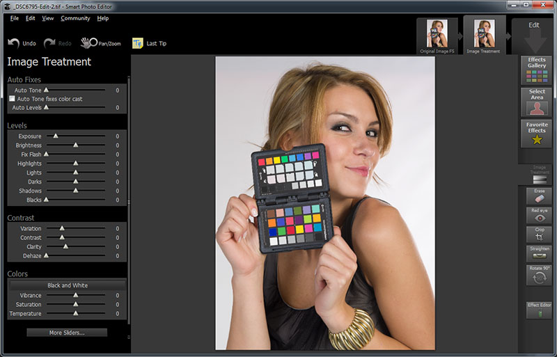 The Image Treatment tool offers a wide selection of basic image adjustments.