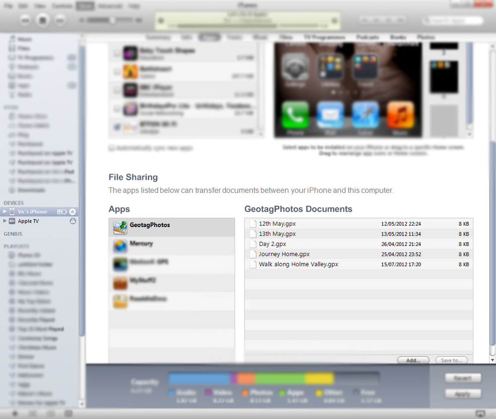 The easiest way to get the GPS file off the iPhone is through iTunes file sharing.
