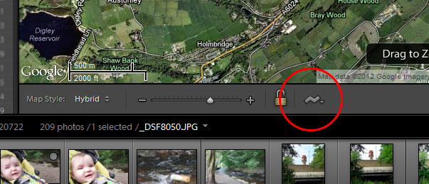 Select the squiggly button to import a GPX file into Lightroom.