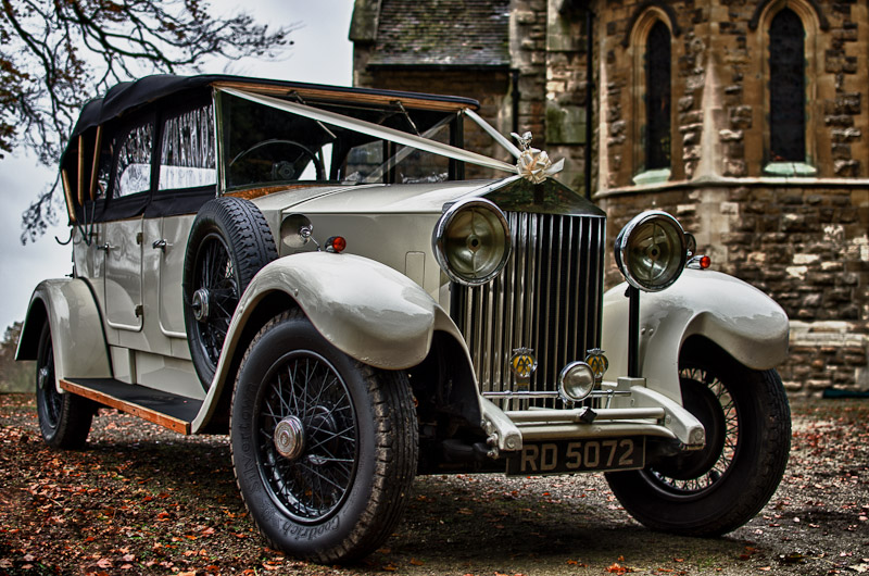 It's important to capture every detail and with more than one photographer as the ceremony takes place inside there's time to capture photographs like the wedding car waiting outside of St. Johns Church in Wentbridge, West Yorkshire.
