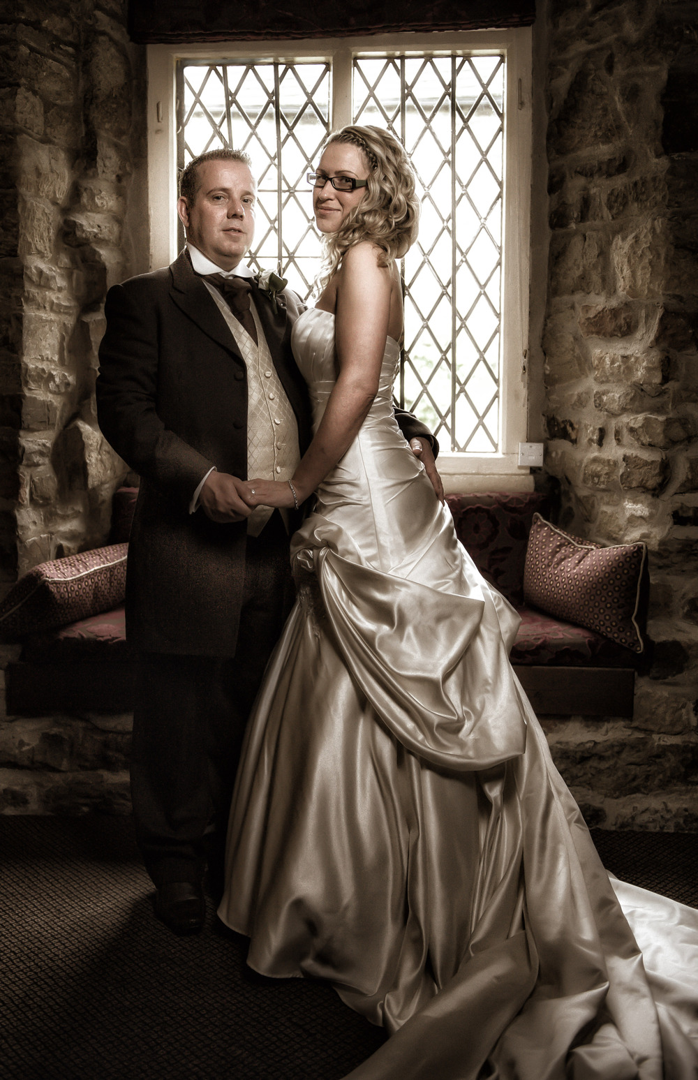 Even if the weather is bad and the venue is small we can normally find a corner to create stunning photographs. This formal shot of Mel & Dean was taken in the bar at the Whitley Hall Hotel, Sheffield, South Yorkshire.