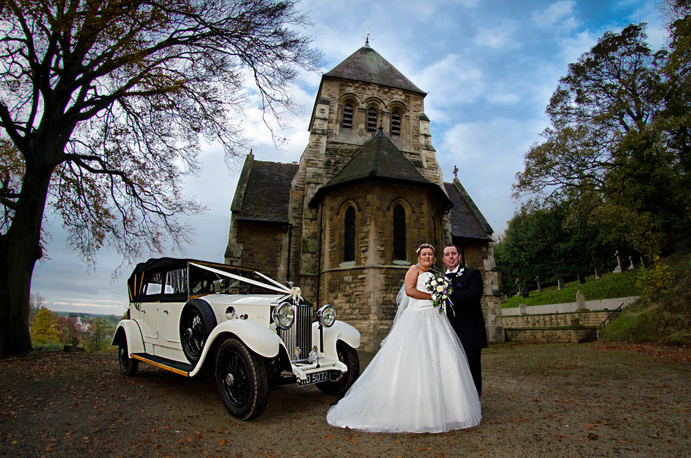 When the church is pretty and the wedding car is classic then creating a vista to show it off is important and Dave and Emma's  wedding at Wentbridge Church in West Yorkshire was no exception.