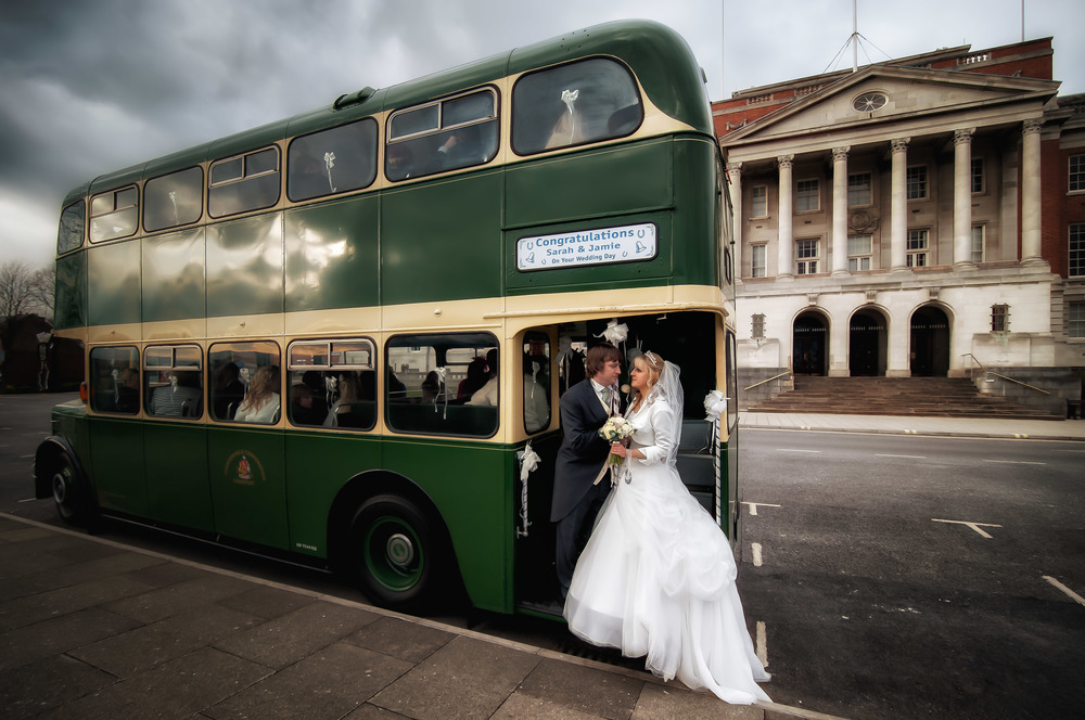 There were many great moments when Jamie and Sarah married in Chesterfield but it was hard to resist grabbing a quick photograph as they jumped onto the bus to head to their reception at the Winding Wheel.