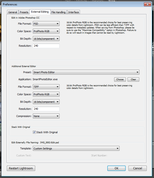 Example of my settings to in the External Editing Preferences to create a link to Smart Photo Editor