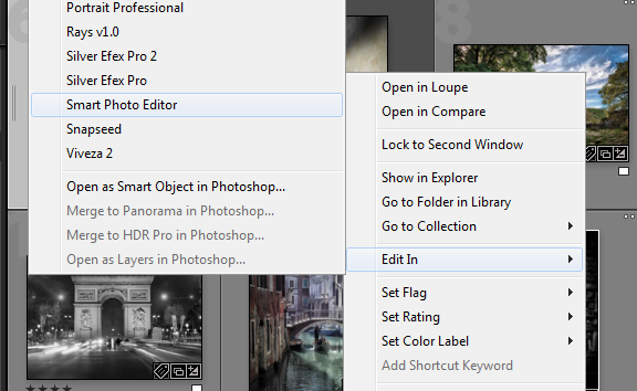 "Right Click on an image, select ""Edit In"" and then ""Smart Photo Editor"" to pass the image to Smart Photo Editor."