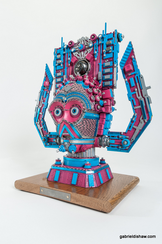C3PO Galactus was created by artist gabriel dishaw using upcycled materials and inspired by Star Wars, C3PO.