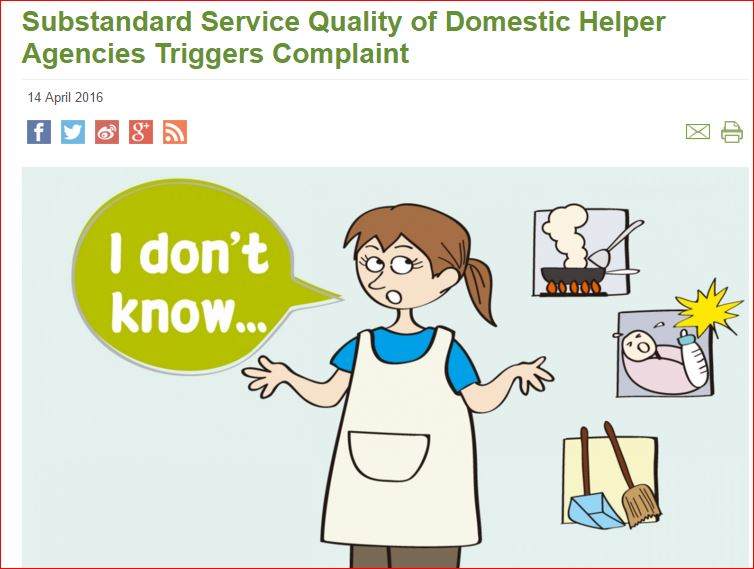 screenclip from the Consumer Council Report about domestic helper agencies