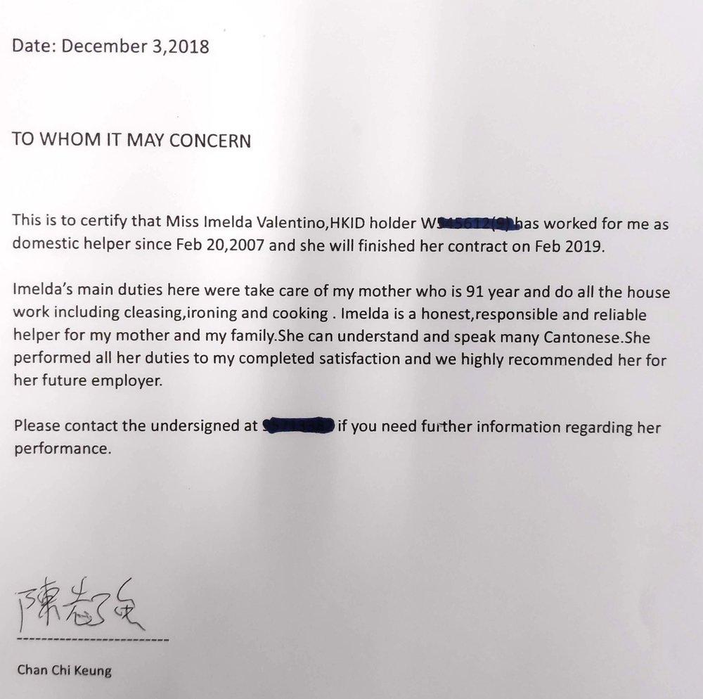 Reference letter for Imelda