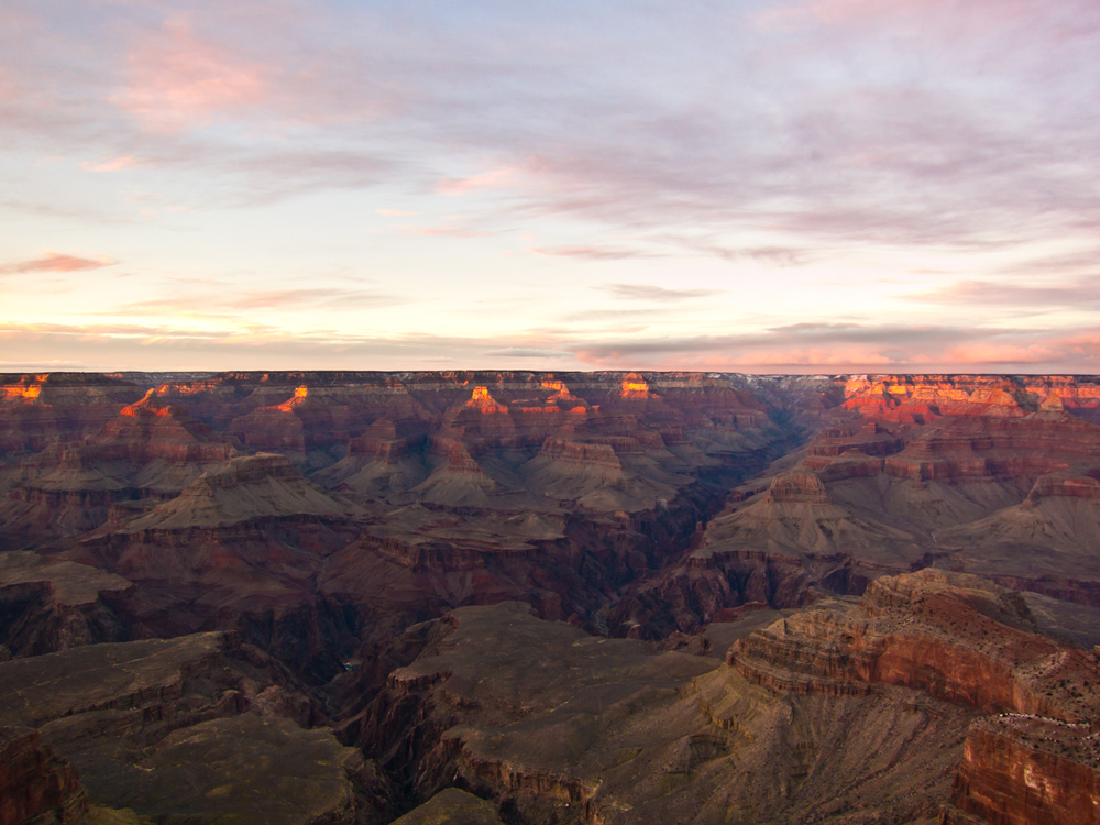 South Rim of the Grand Canyon during sunset.