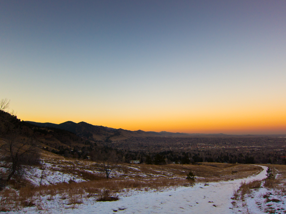 Flatirons hike sunset in boulder colorado.
