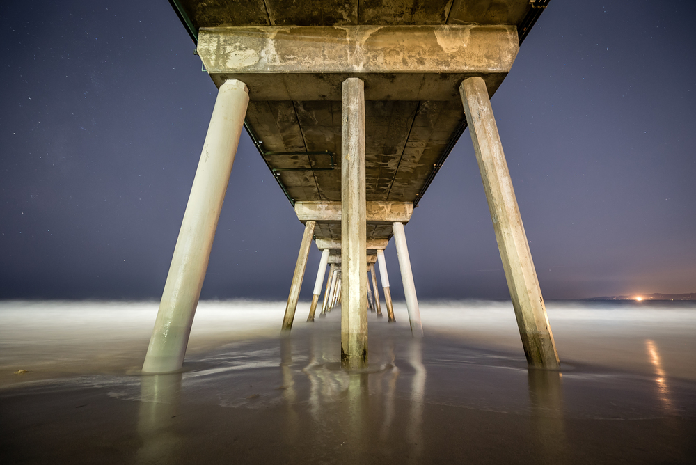 Under the Hermosa Beach Pier at Night