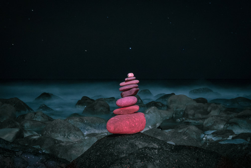 Nighttime Zen Rocks at the Beach