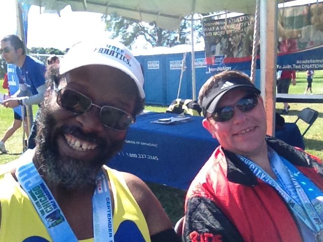 Mike Rice and I at the DIocese of Chicago tent after the race feeling happy we were done.