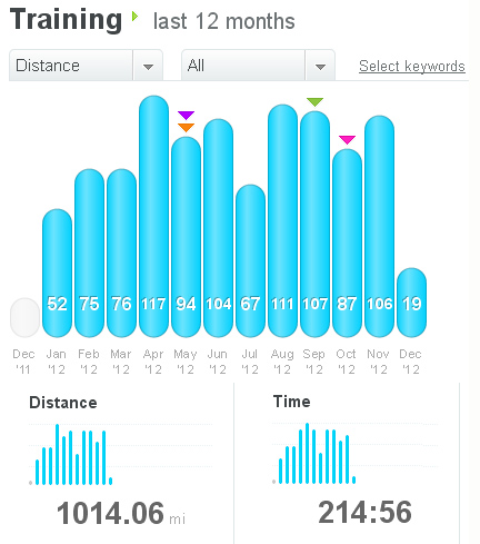 My miles as recorded in DailyMile.com