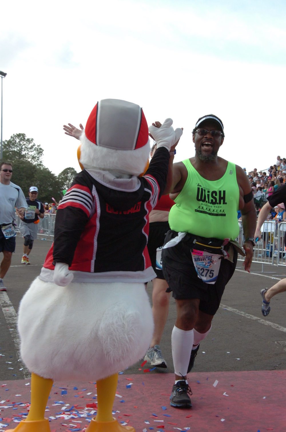 Hi-Fives with Donald at the Full Marathon Finish Line!