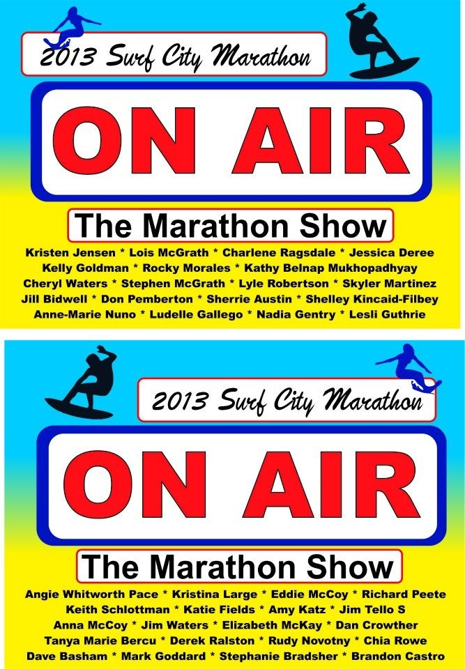 Joe Taricani's ON AIR sign with my name listed!