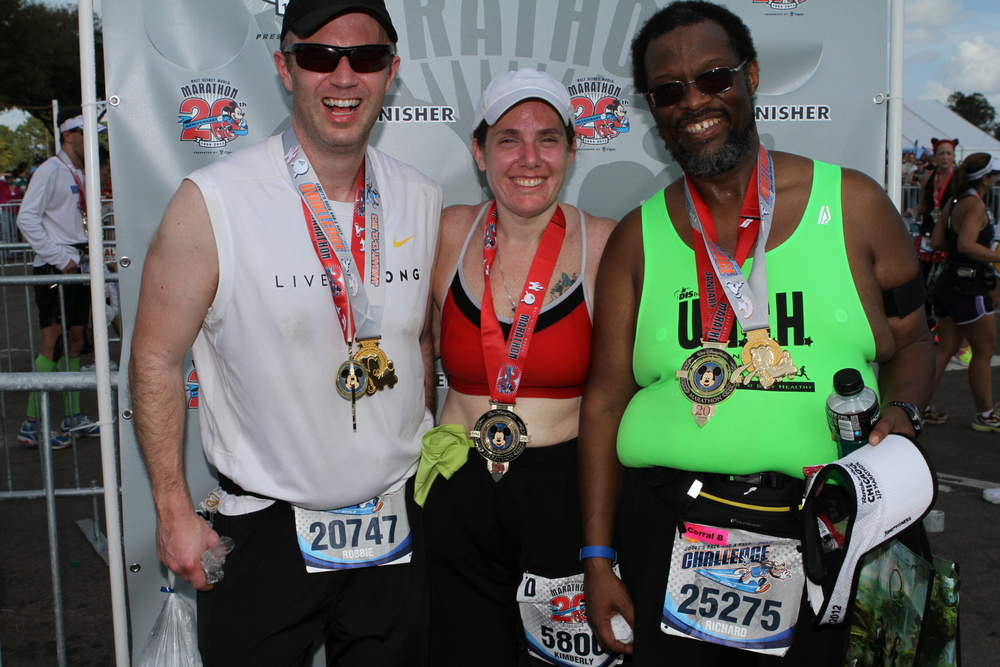 Robbie, Kimberly, and me at the Marathon Finish!