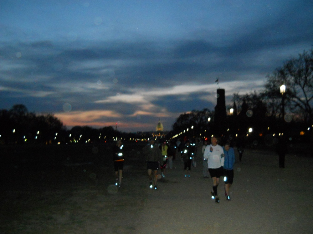 The sky was just beginning to brighten as we arrived on the National Mall on race day.