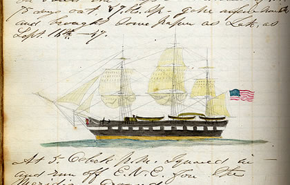 Pencil and watercolor on paper by Joseph Bogart Hersey, American (fl. ca, 1843-51), Ship Corinthian of New London, from Hersey's journal aboard the bark Samuel and Thomas of Provincetown, MA, John Swift master, September 12, 1846-April 13, 1848.