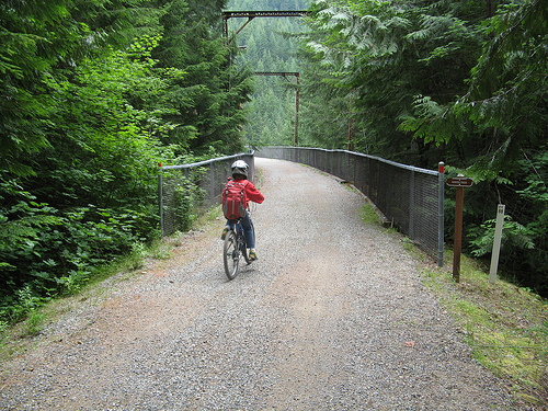 Crossing Hansen Creek bridge, JWPT, Iron Horse State Park