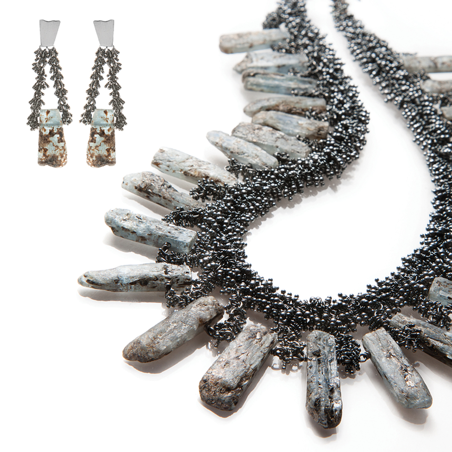 Undina Collection : Nimue earrings necklace featuring one-of-a-kind kyanite gems and 2,328 oxidized recycled sterling silver elements.  Jewelry with a oxidized patina has a consistent lustrous gray finish. Photo credit: Julie Stanley/JuleImages LLC
