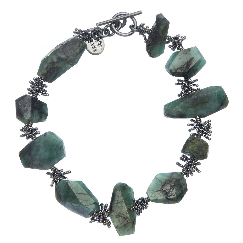 Michelle Pajak-Reynolds Undina Collection Nagisa bracelet featuring 54.75 carats (total weight) of one-of-a-kind emeralds with striking natural inclusions set in oxidized recycled sterling silver.  Photo credit: Julie Stanley/JuleImages