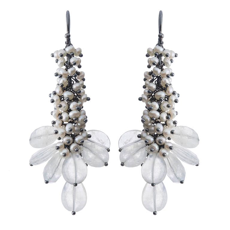 Michelle Pajak-Reynolds Undina Collection Assana earrings featuring 118 seed pearls and 14.8 carats (total weight) moonstones set in oxidized recycled sterling silver. Photo credit: Julie Stanley/JuleImages