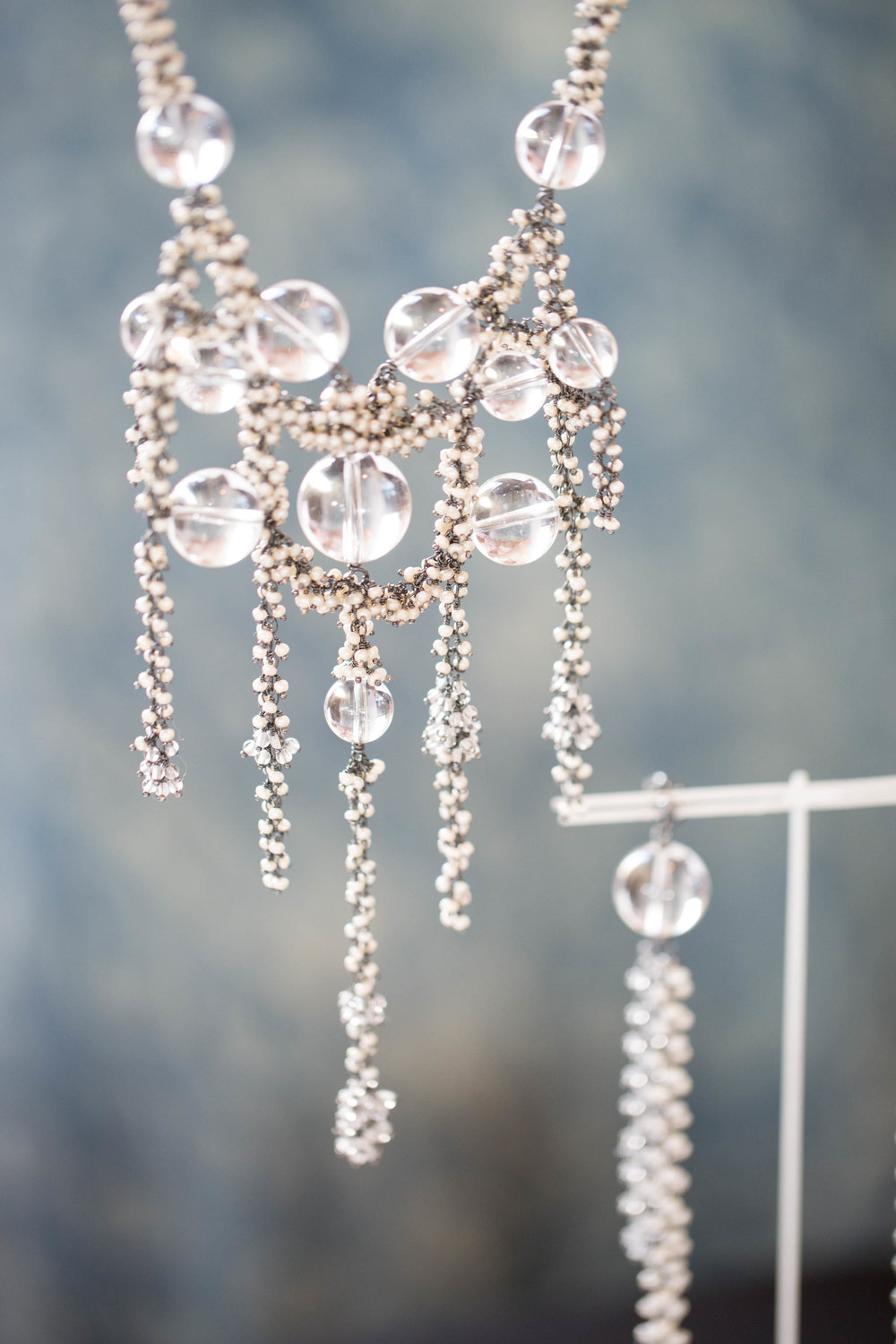 Michelle Pajak-Reynolds Undina Collection Venus necklace handcrafted in pearls, 174.85 carats (total weight) rock crystal quartz and oxidized recycled sterling silver.  Photo credit: Julie Stanley/JuleImages