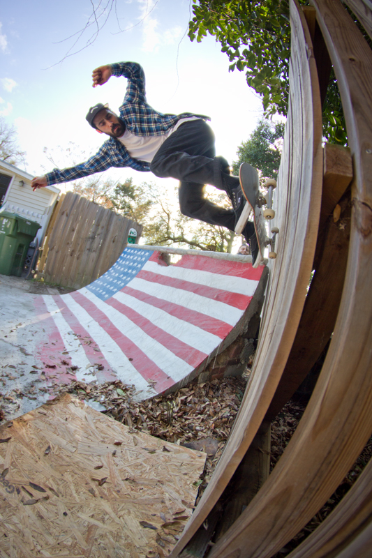Timmy Jarman, no stranger to the wallride, gets one in.
